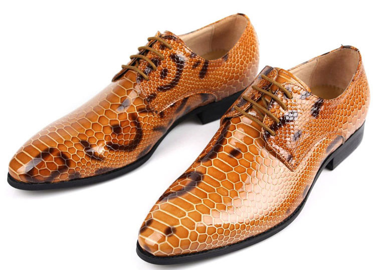 New 2015 high top elegant snake skin style brown genuine leather luxury men shoes casual flats for party business size 6-10 ox64