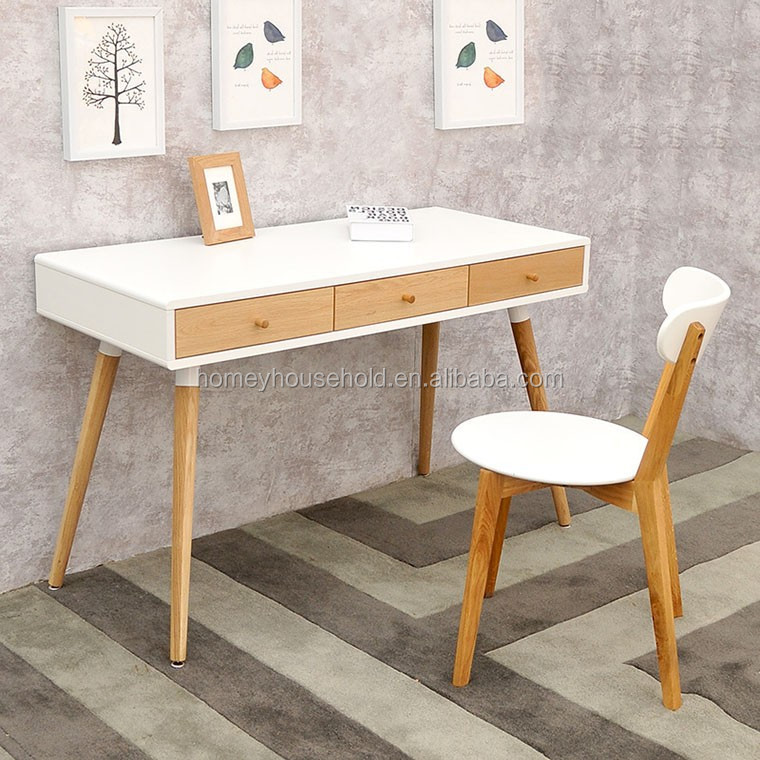 tables de bureau mode scandinave blanc ch ne en bois table d 39 ordinateur table en bois id de. Black Bedroom Furniture Sets. Home Design Ideas