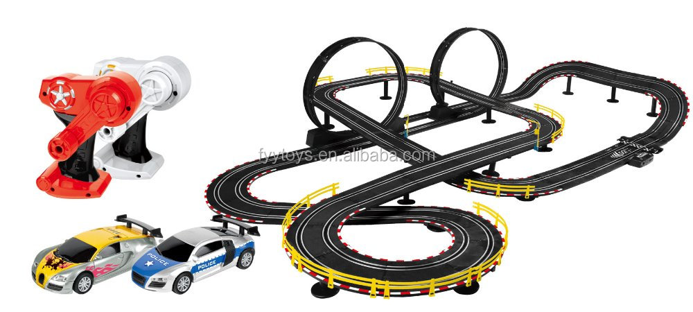 Deluxe Slot Car Set Double Loop Electric Race