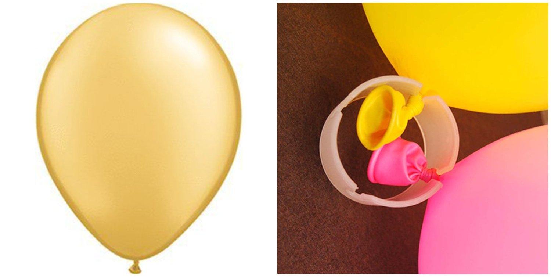 "200 PCS Wedding Ballon 12"" Latex Gold Party Balloons by YIGER Celebration Ballon of DIY Decoration Ballon with 50PCS 3.5*2.7cm Plastic Balloon Arch Clip Ring Buckle"