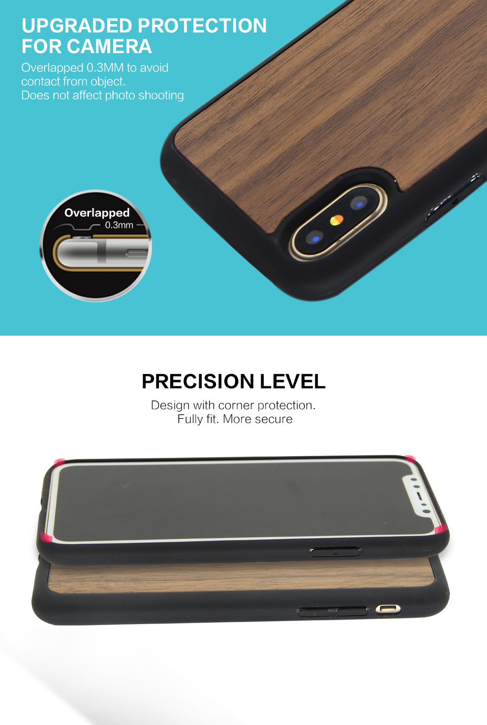 TPU Rubber Bumper Non Slip Real Wood Case For Apple iPhone X