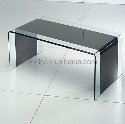 Clear And Black Tempered Glass Tv Stand
