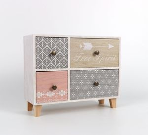 Customize Living Room Cabinet Rural Receive Ark Bedside Table 4 Tiers Drawers Rose handles Solid Wood Basket storage
