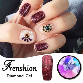 Frenshion Whole Red Bling Glitter Gel Nail Polish Diamond Effect Soak Off Long Lasting