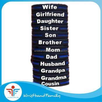 Thin Blue Line Silicone Bracelet Medical Id Bracelets