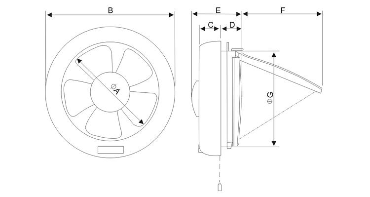 round window-mounted extractor fan  khg20-m