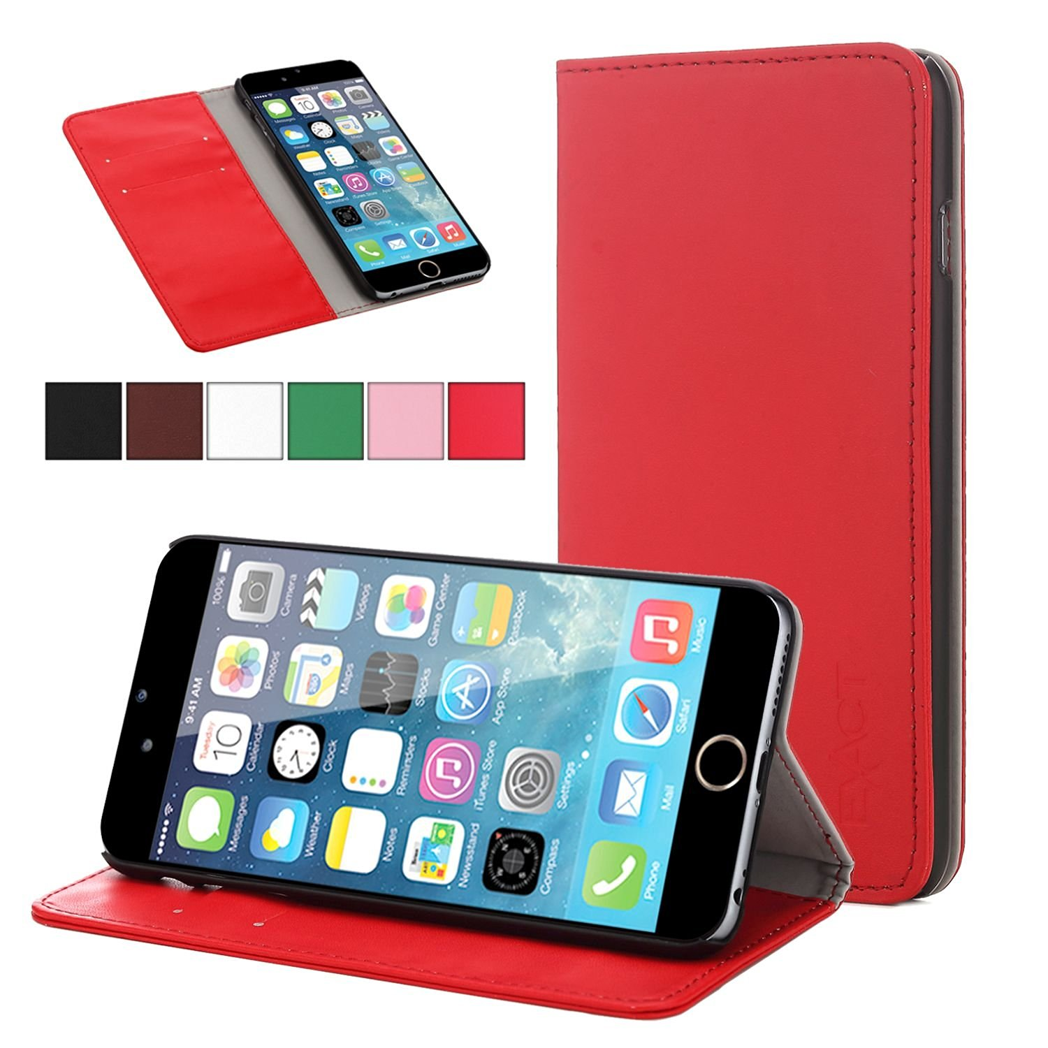 iPhone 6 Plus Case - Exact Apple iPhone 6 Plus 5.5 Case [BillFOLD Series] - PU Leather Wallet Flip Cover Case for Apple iPhone 6 Plus (5.5-inch)Red