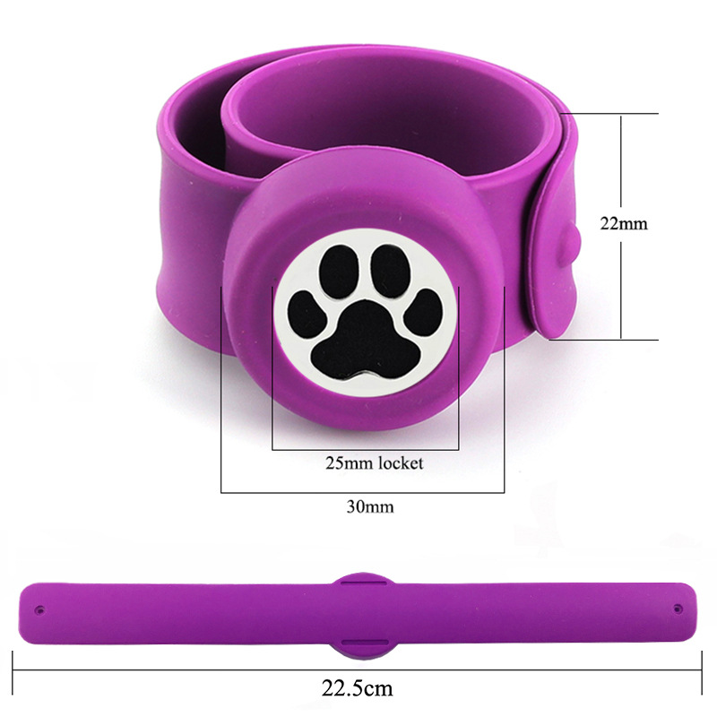 25mm Magnet Stainless Steel Dog Paw Designs Silicon Mosquito Repellent Bangle Essential Oil Diffuser Bracelet for Kids