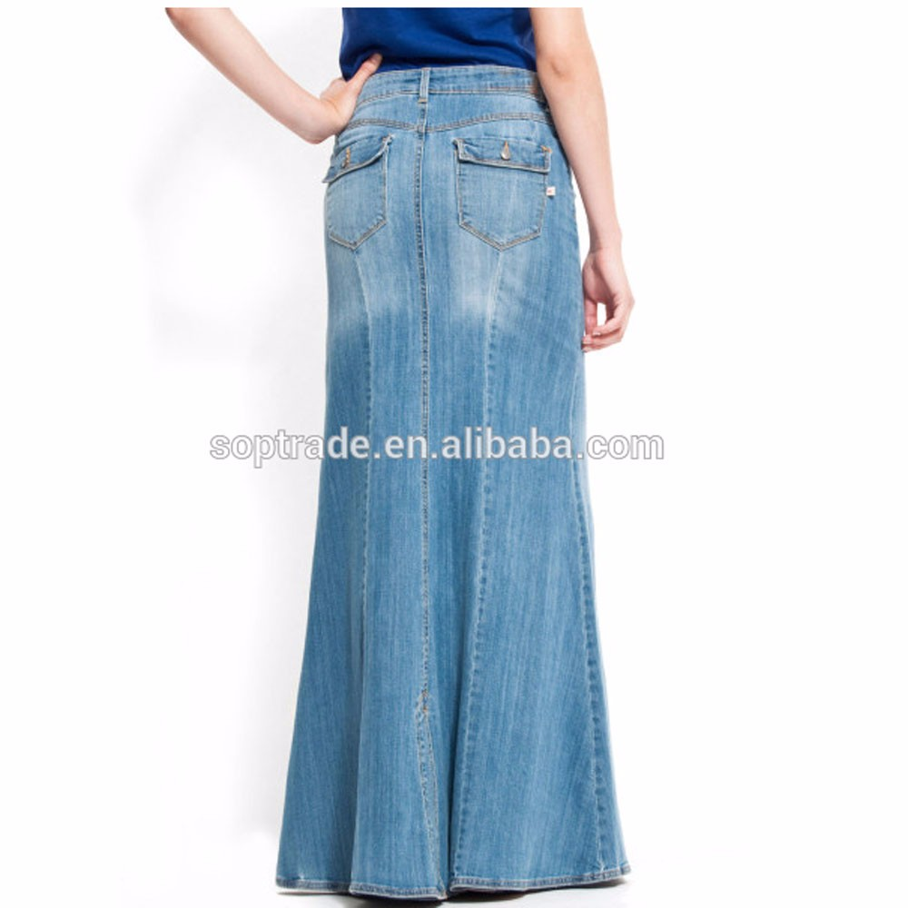8085059a04e1 Wholesale Jean Skirt Women High Quality Cotton Maxi Long .