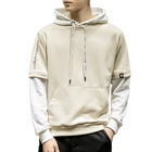 Fashion design Hooded Fleece Faux 2-in-1 pullover men's varsity baseball hoodie