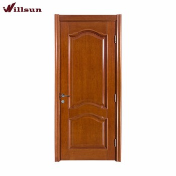 Simple Type Sapele Wood Curved Two Panel Interior Finished Surface Door  Design