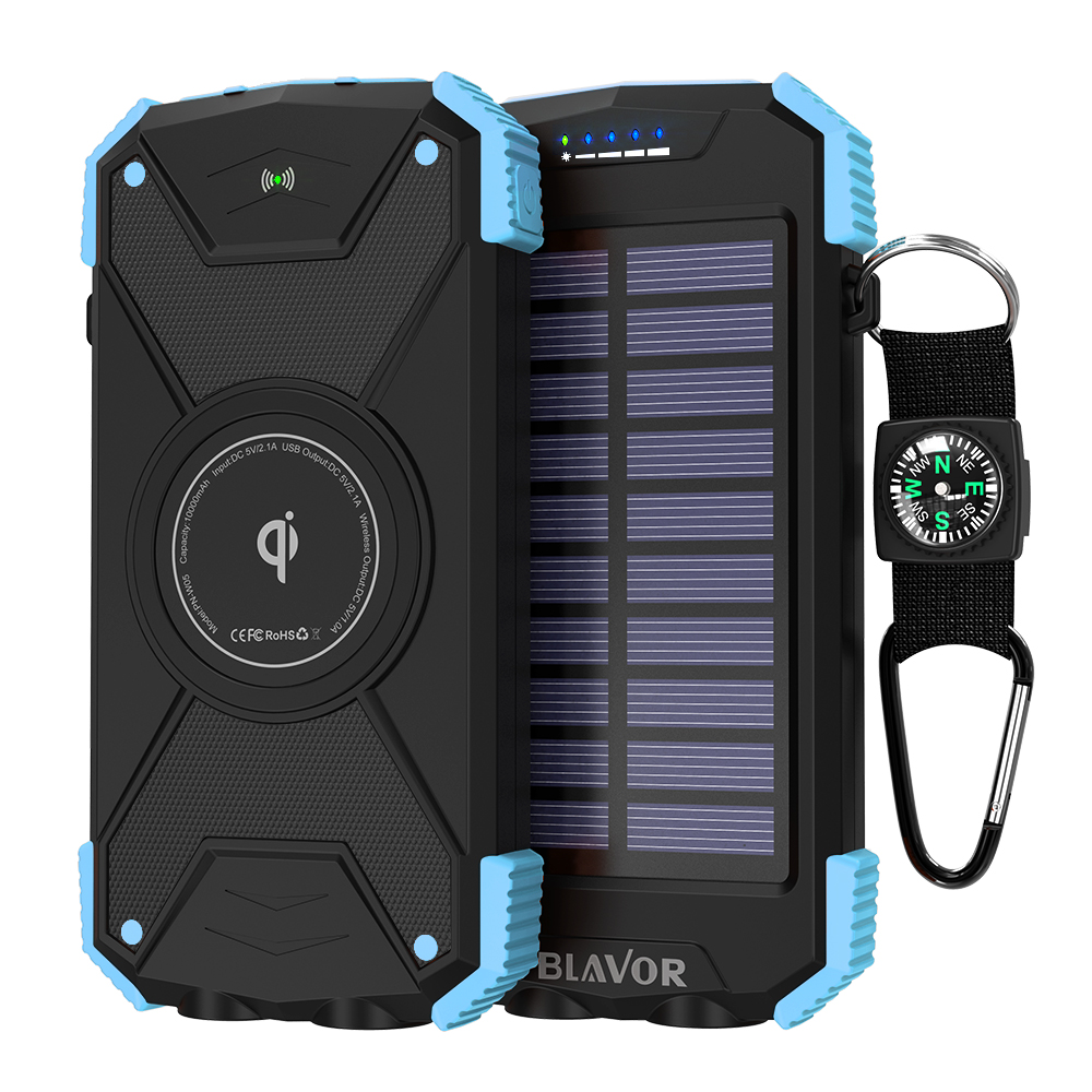 10000 mAh Solar Wireless Charger Private Mold High Quality Power Bank with Dual Flashlight and Compass Waterproof