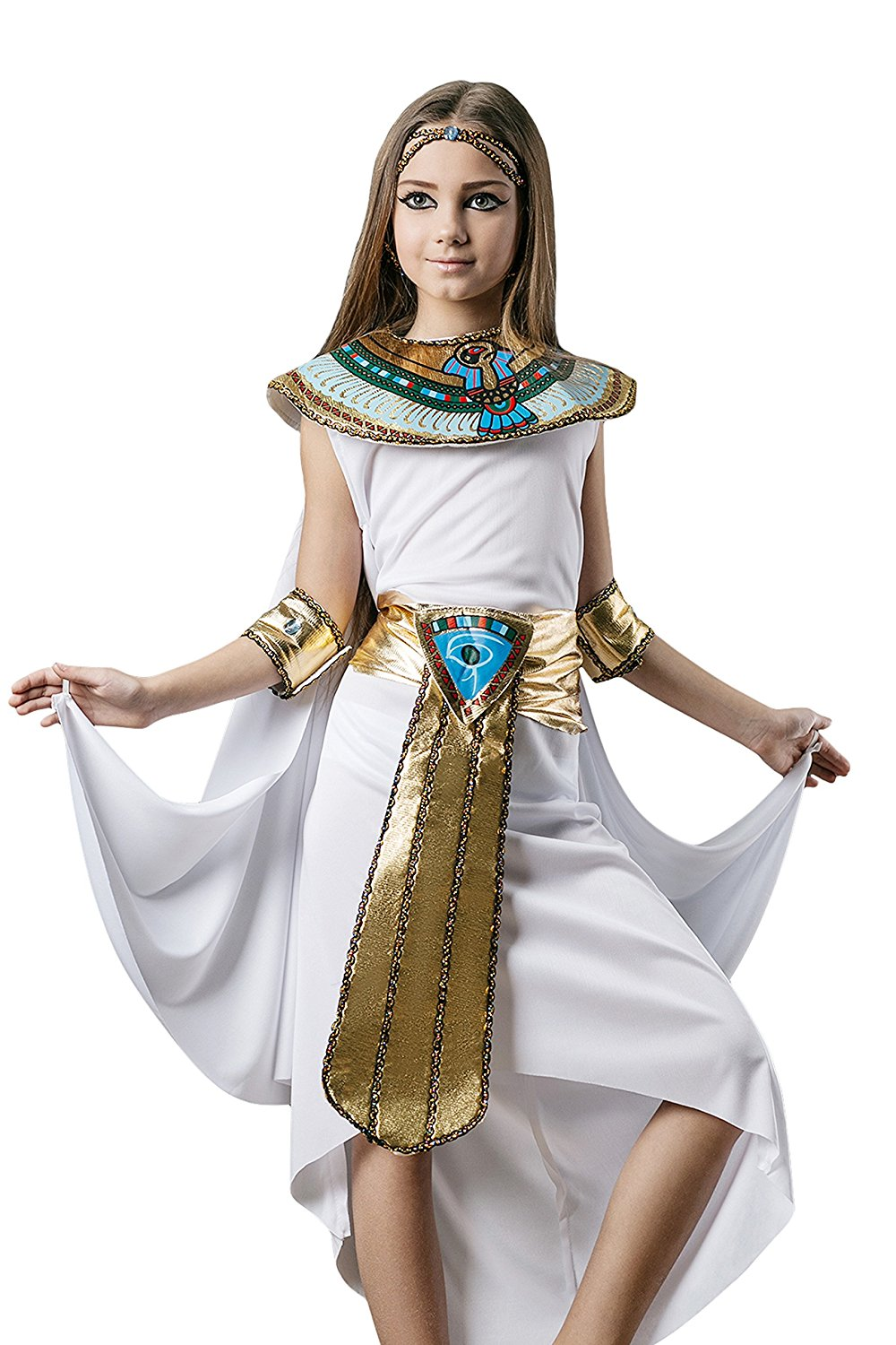 kids girls cleopatra halloween costume egyptian princess dress up role play 6 8