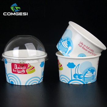 Ice Cream Cup_Various size recycle Beautiful printing pe coated ice cream cup and lid_Food Grade Disposable cold drink paper cup