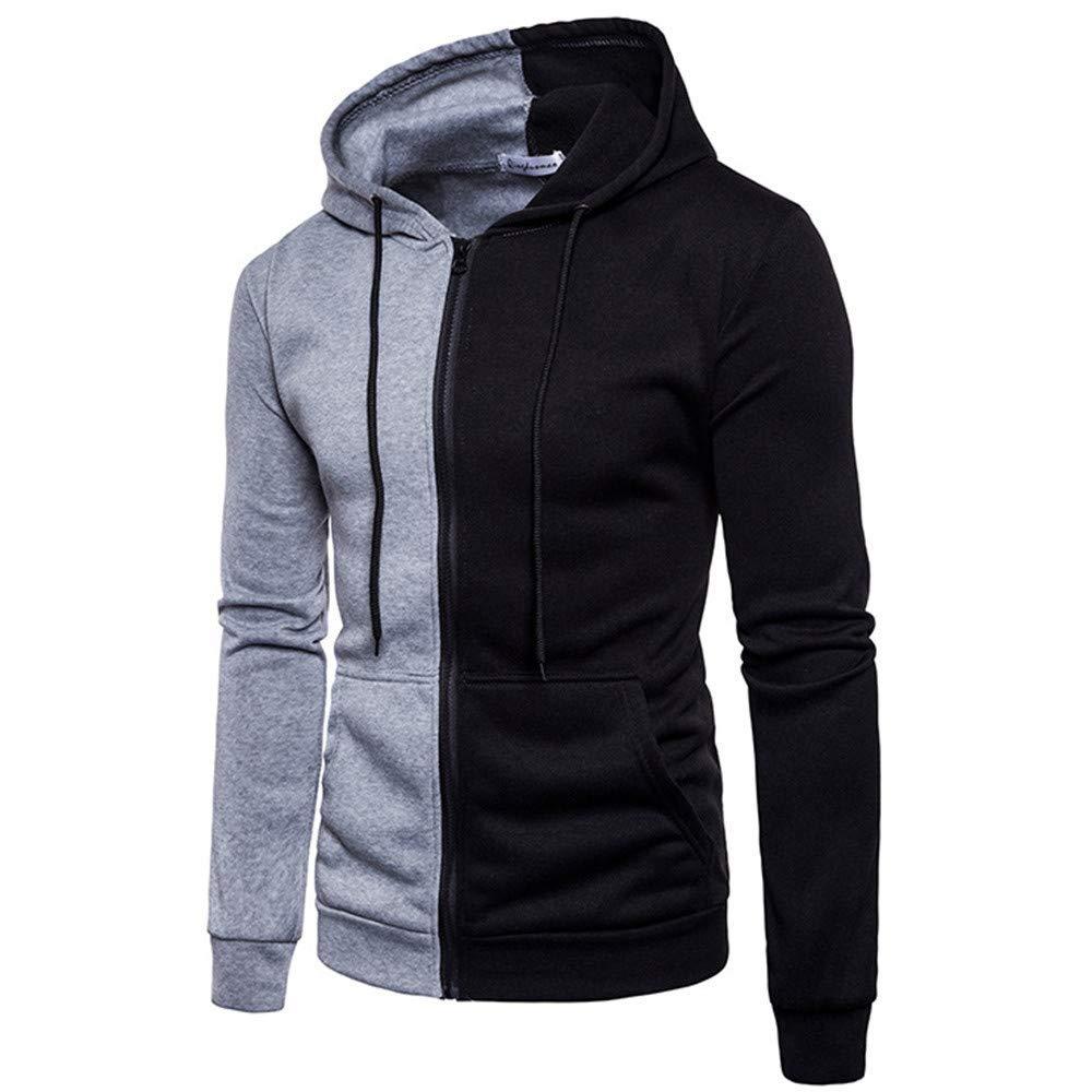Zainafacai Fashion Mens Super Cozy Autumn Winter Splicing Leisure Hoodie Lapel Collar Casual Coat-100% Cotton