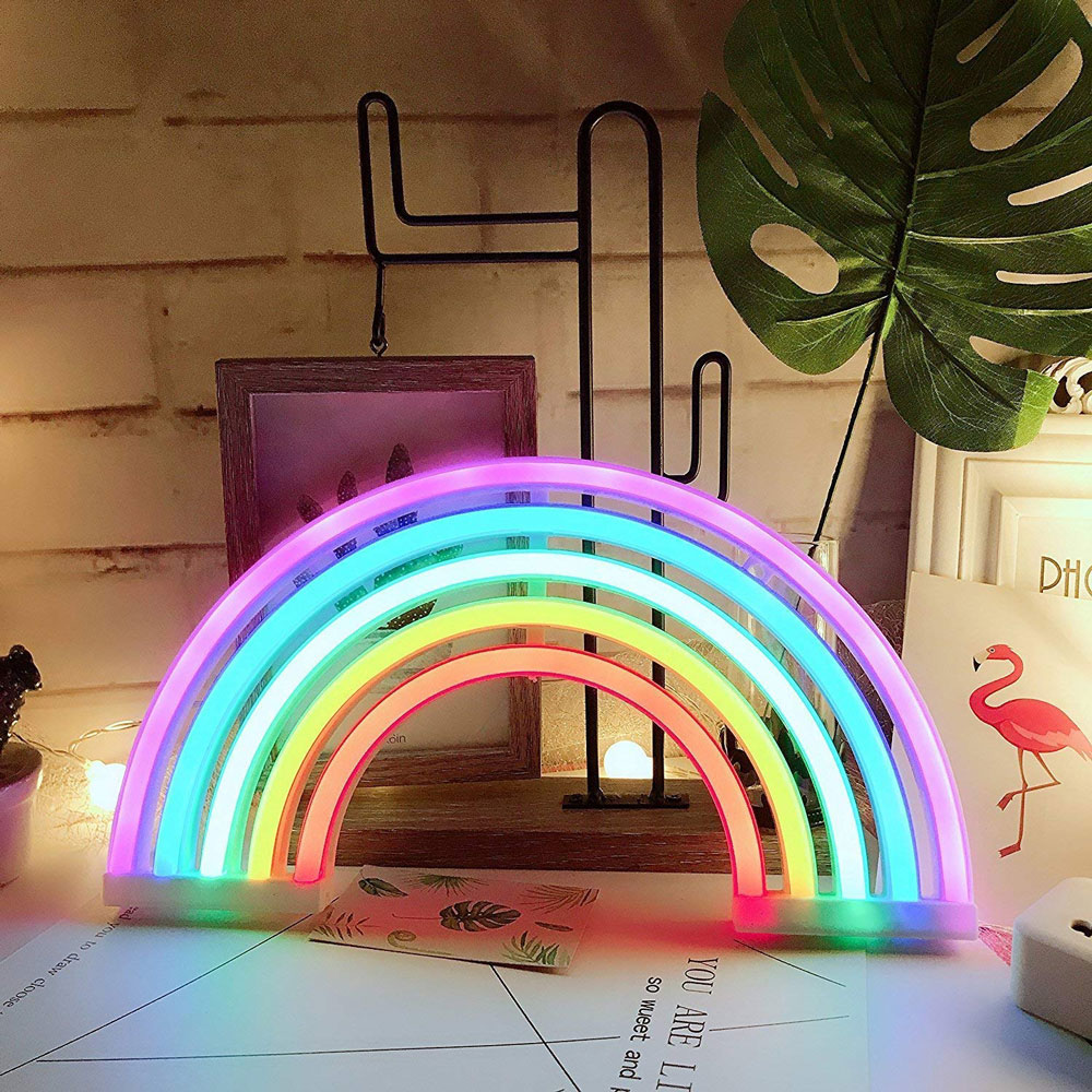 3AA Or USB Charging Rainbow Led Wall Lamp Home Party Birthday Bedroom Bedside Table Decoration Light Gifts LED Neon Light