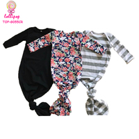 Newborn Baby Long Sleeve Sleeping Blank Boutique Night Gown Floral Printed Nest Infant 0-24M Striped Baby Knotted Gown