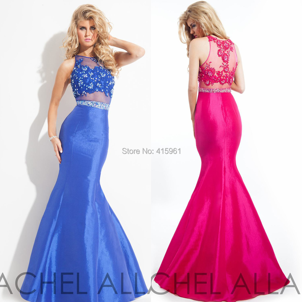4fccc68d7f94 Get Quotations · Vestidos de Festa Hot Pink Royal Blue 2 Piece Prom Dresses  Mermaid Evening Dress Lace Crystal
