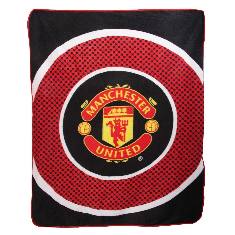Manchester United FC Official Bullseye Football Fleece Blanket (59in x 49in) (Black/Red/White)
