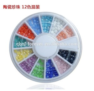 12 colors ceramic pearl wheel nail decoration for the toe nails