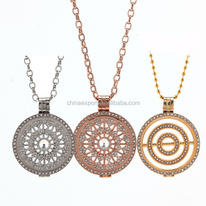 Stainless steel coin locket rose gold jewelry