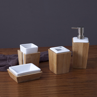 Hot sale bamboo bathroom four piece ceramic bathroom accessories set for home and hotel
