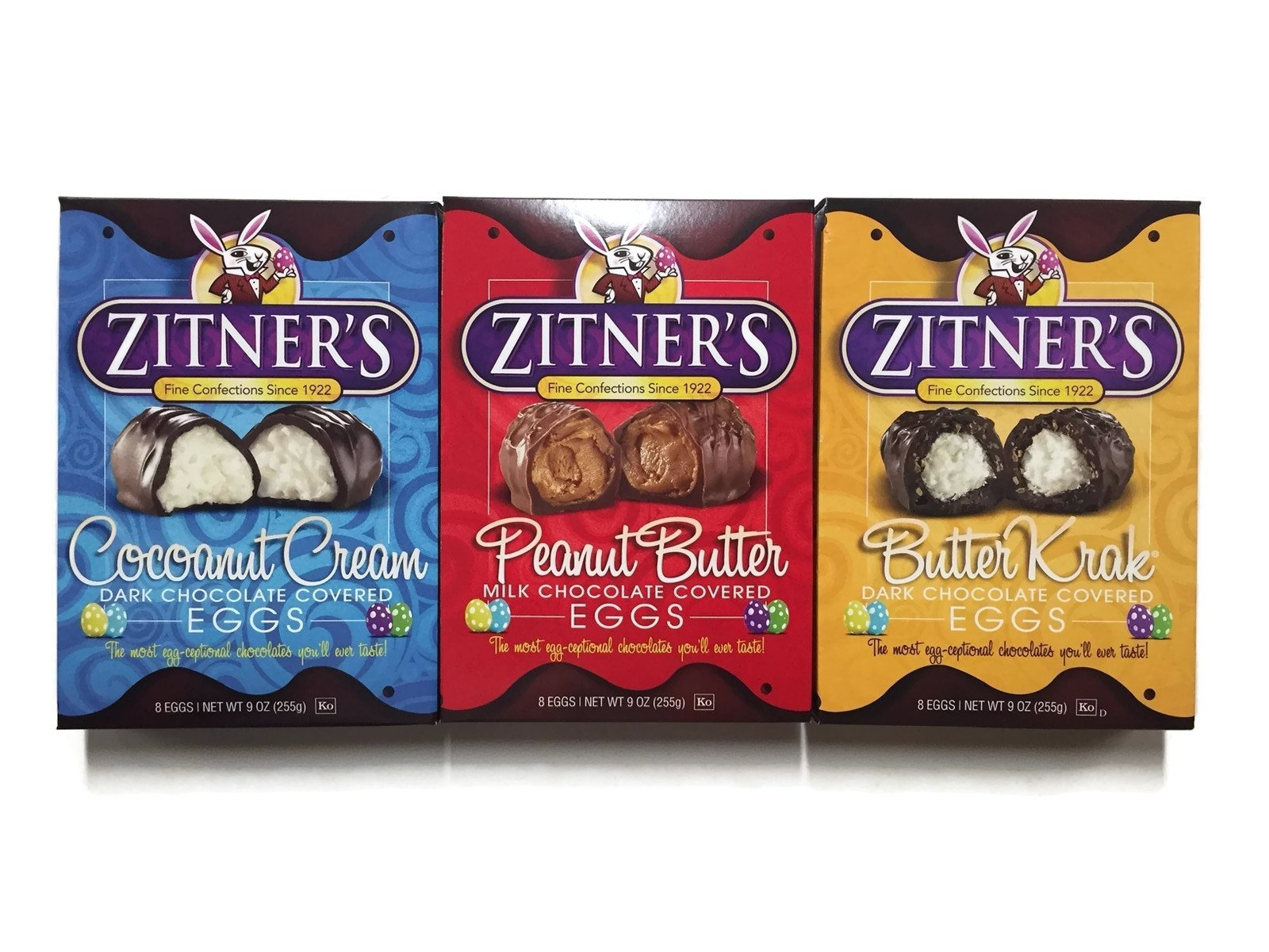 Zitner's Chocolate Eggs Variety Set: Cocoanut Cream, Peanut Butter, Butter Krak, 8 Eggs, 3 Count 9 oz. Boxes (1 of Each)