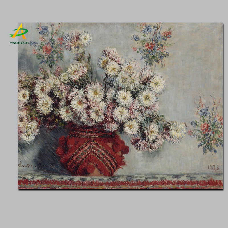 Monet Famous Flower Oil Painting Canvas Print Picture Wall Hanging Decor Painting