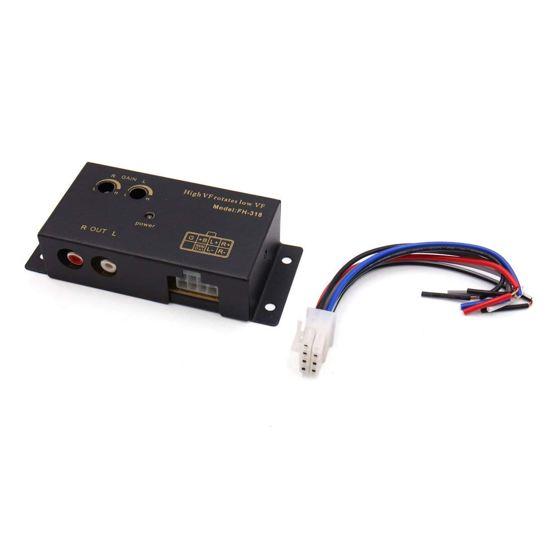 uxcell Delay High to Low Line Out 2 RCA Socket Car Audio Speaker Level Converter Adaptor