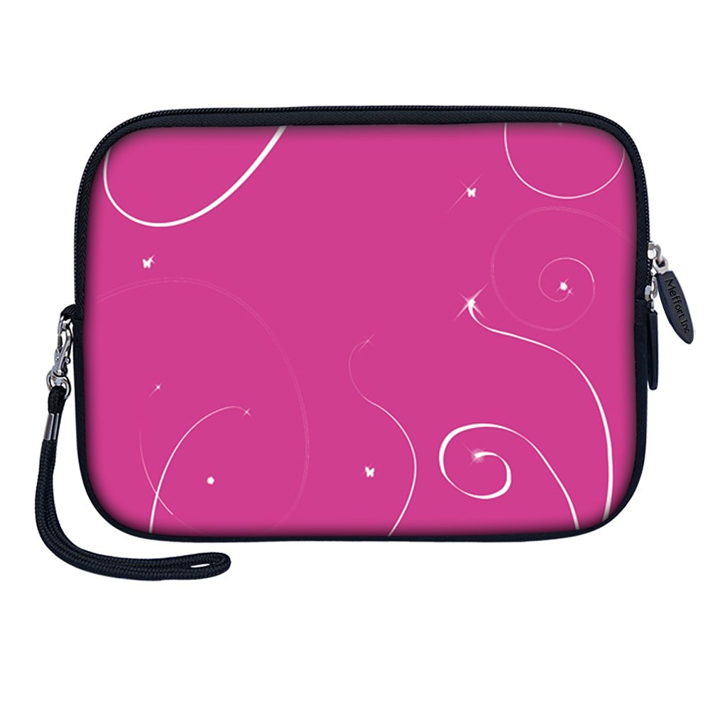 "Meffort Inc 7 inch Tablet Carrying Case Sleeve Bag w Removable Handle for most 6"" 7"" 8"" Tablet eBook - Pink Swirl"