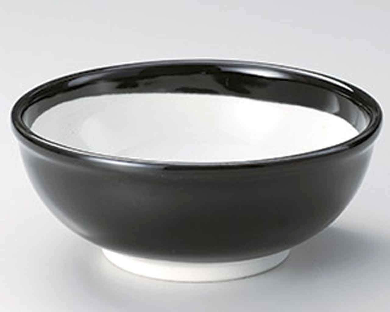 Black Glaze 8.3inch Set of 5 Ramen-Bowls White Ceramic Made in Japan
