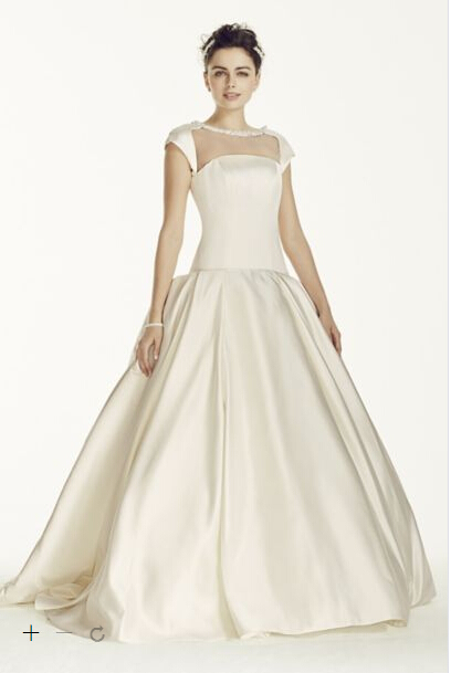 2054848a29 Get Quotations · Free shipping Custom-Made 2015NEW! Satin Cap Sleeve Beaded  Ball Gown Style CJS720 Wedding