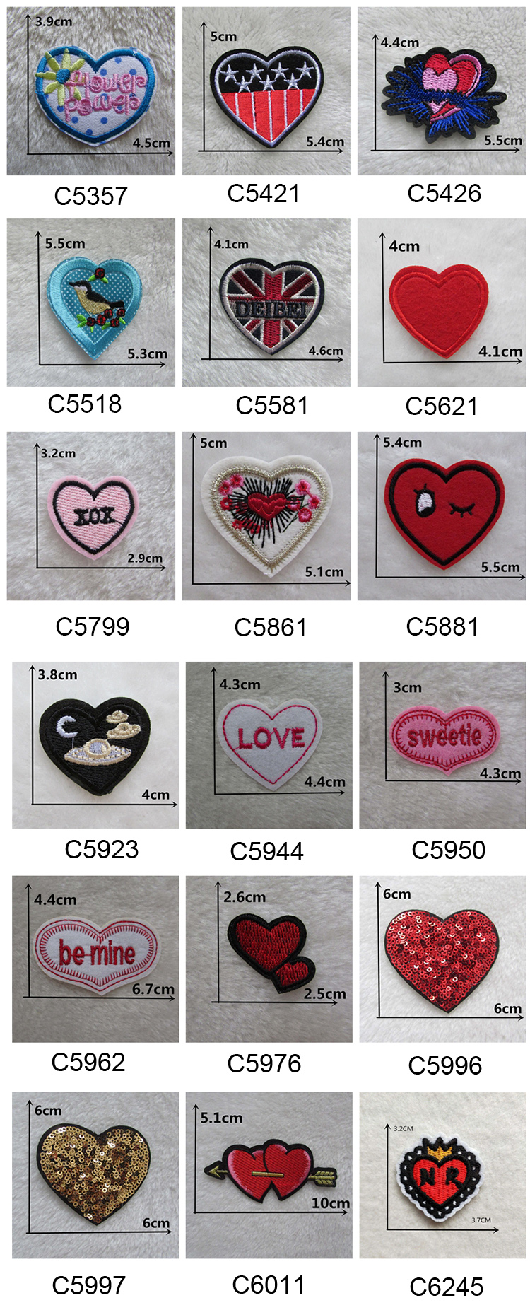 15cm PINK  LOVE HEART SHAPE Embroidered Iron Sew On Cloth Patch Badge  APPLIQUE