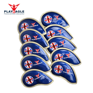PU Leather golf iron head cover golf club headcovers wood fairway hybrid cover with embroidery printed logo