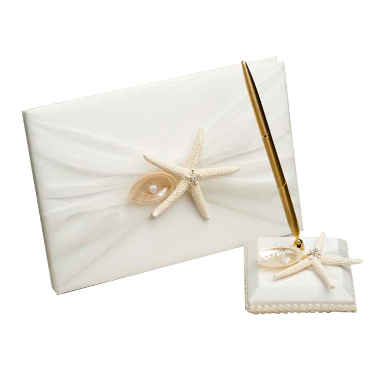 Beach Style Starfish Bridal Guest Book and Pen Holder for <strong>Wedding</strong>
