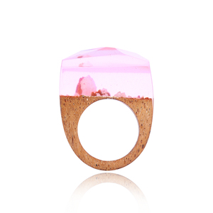 Exclusive Wood Resin Ring Wooden Jewellery Mom Gift Ring Wooden Rings for Women Minimalist Jewelry Mountain Shape Christmas 2018