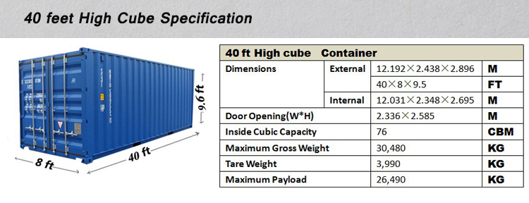 40 Length Feet And Dry Container Type 40ft High Cube