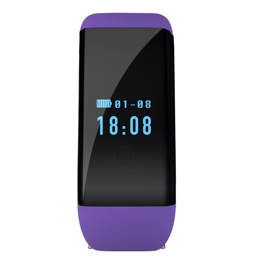 OWIKAR Smart Wristband Bracelet Digital Sports Watch Bluetooth Heart Rate Fitness Sleep Monitor Health Management Waterproof Smart Bracelet For IOS iphone Android Smartphones (purple)