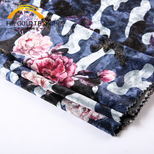 New products KS foil german print camouflage knit fabric velvet material online