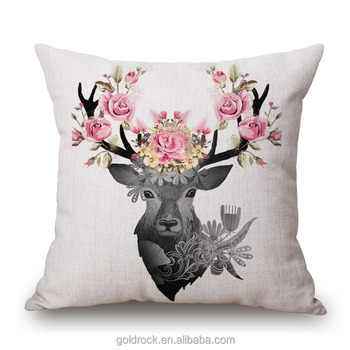 Factory Whole Cushion Cover Thick Fabric Deer Head Pattern Custom Printed Pillow Cases Decorative Throw