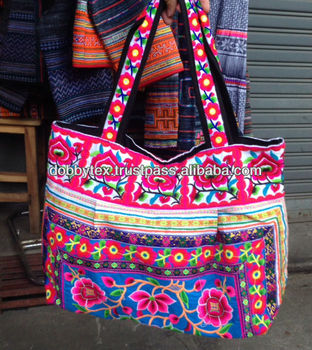 Thai Handmade Fl Embroidery Hmong Bag With Cotton Strap