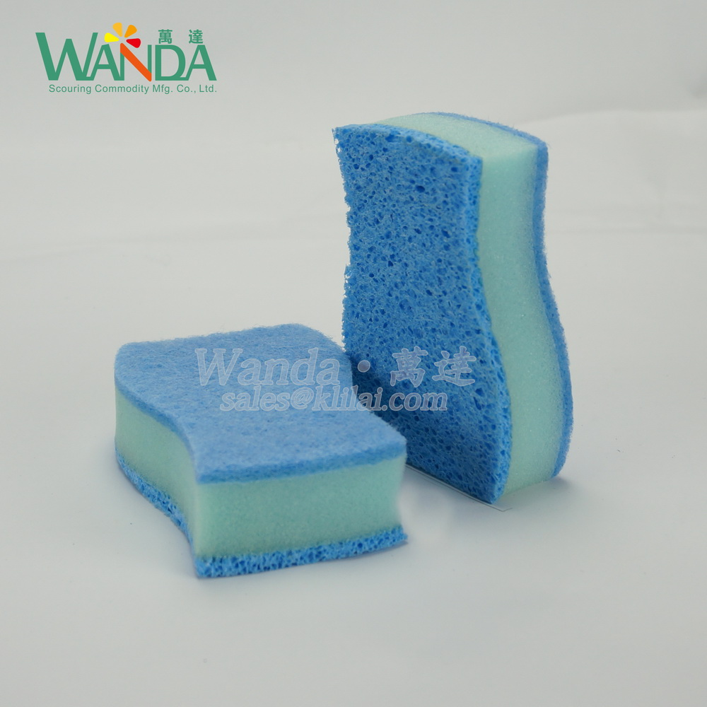 Double usage,cellulose sponge scourer with scouring pad with high performance