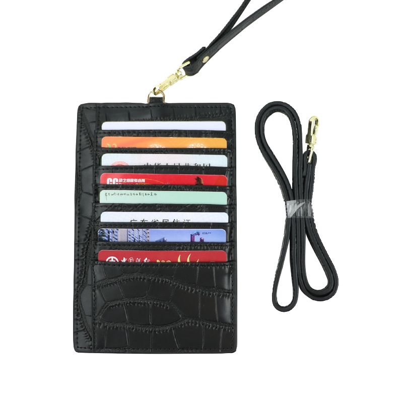 New design embossed crocodile leather card slots phone case wallet with strap