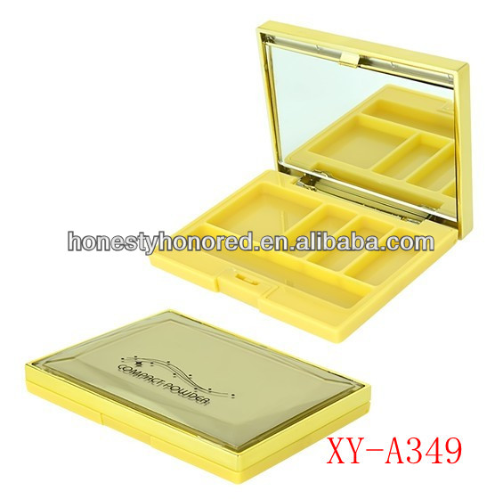 Empty Yellow Eyeshadow Compact Case With Mirror