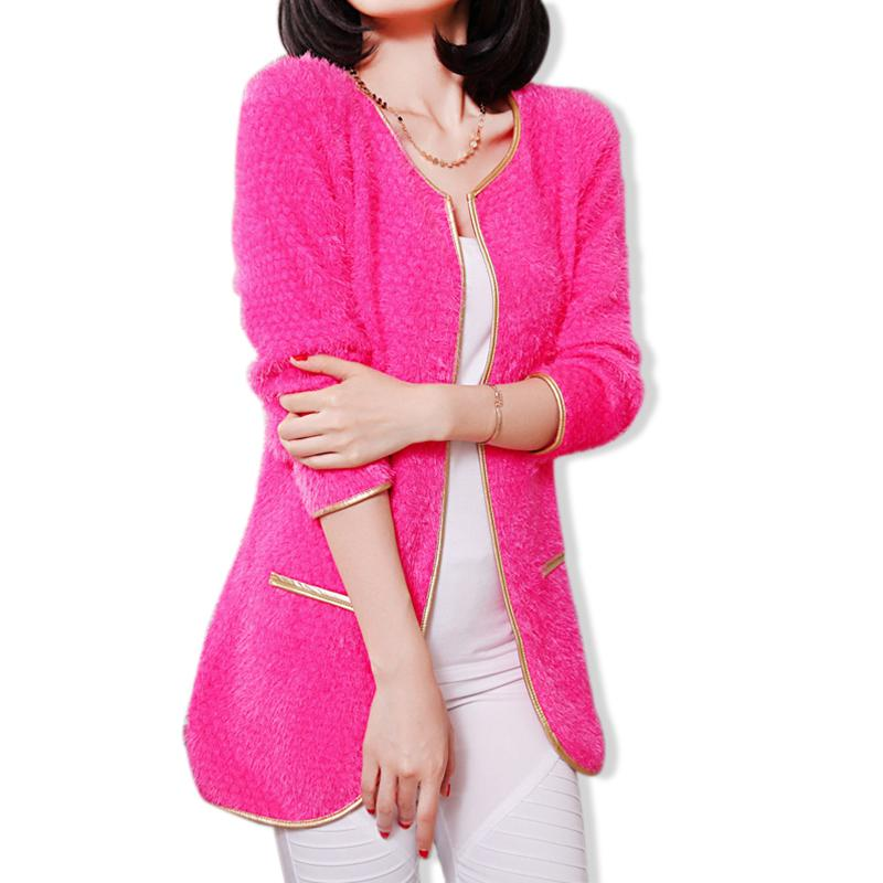 94db8764229 Get Quotations · 2015 Golden Trim Patchwork Knitted Mohair Cardigans Women  Sweaters Autumn Winter Korean New Warm Long Sleeve