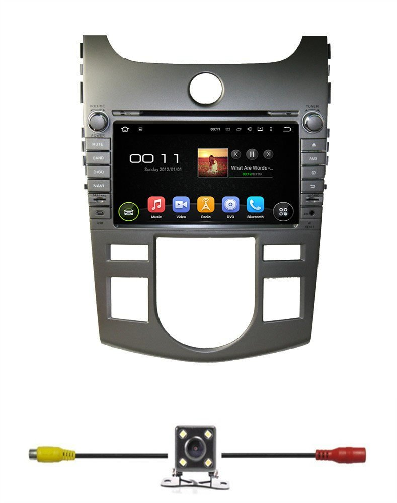 """BlueLotus® 8"""" Android 5.1 Quad Core Car DVD GPS Navigation for KIA CERATO/FORTE (AT) 2008 2009 2010 2011 2012 w/ Radio+RDS+Bluetooth+WIFI+SWC+AUX In +Free Backup Camera + US Map"""