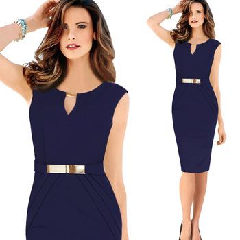 6a22b2ac6f Venta al por mayor vestido Formal elegante oscuro Sexy cuello V azul lápiz  sin mangas vestido