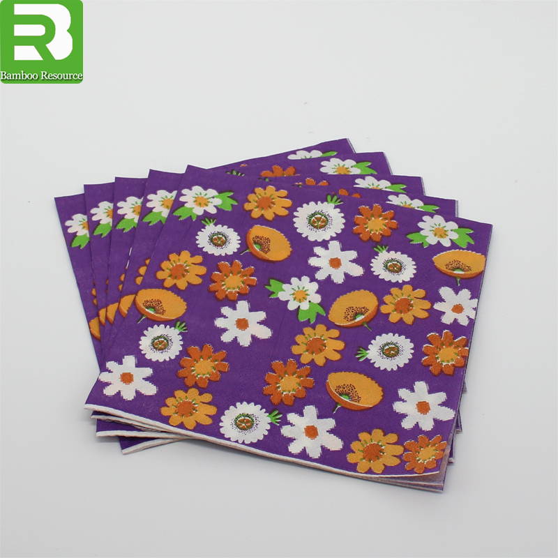 Promotional custom 4C printed paper cocktail napkin,flower print paper napkins