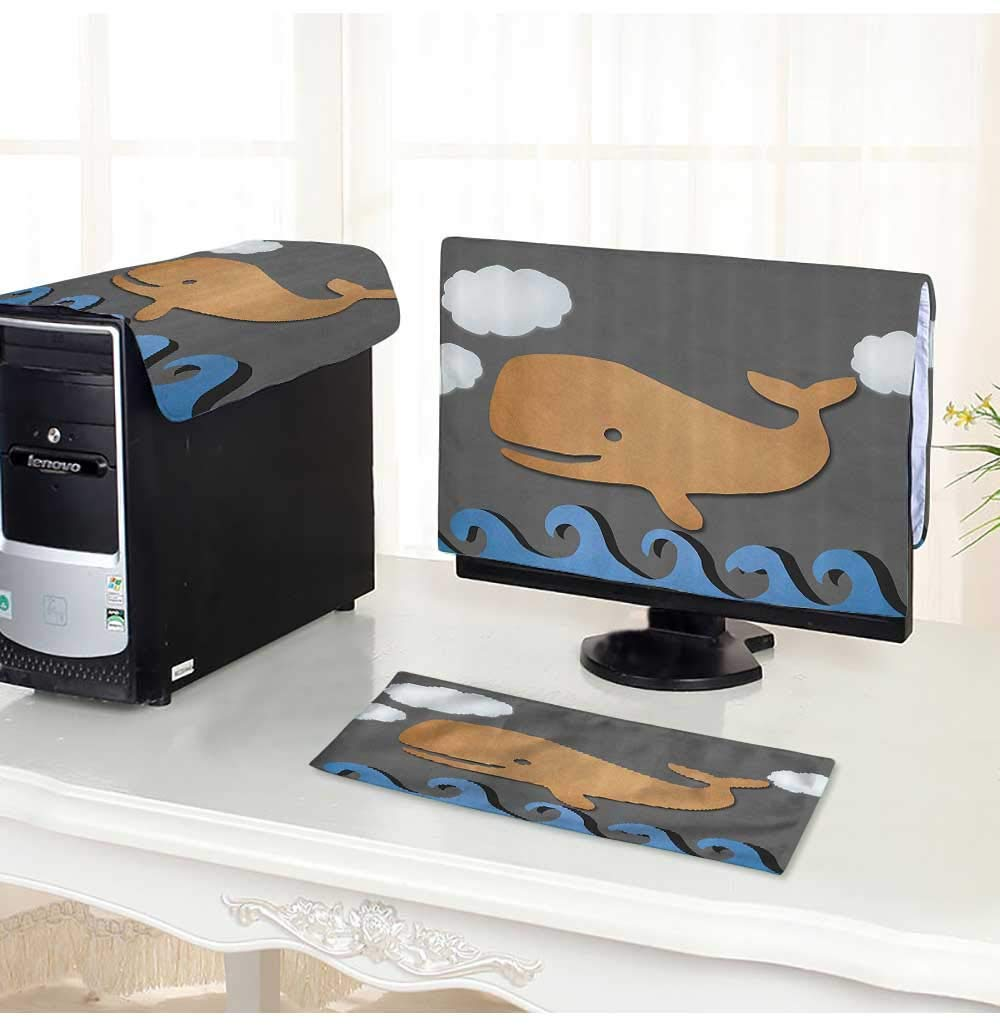 """Leighhome Computer Three-Piece dust Cover Whale Air with Paper Based Whale Grey Blue and Brown Protect Your Computer /20"""""""
