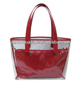 Xhf Lady 265 Fashion Clear Vinyl Pvc Women Tote Bag Handbag